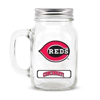 Cincinnati Reds MLB Mason Jar Glass With Lid
