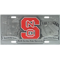 North Carolina State Wolfpack 3D License Plate
