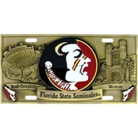 Florida St Seminoles License Plate Brass