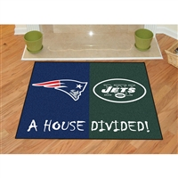 New England Patriots/New York Jets NFL House Divided NFL All-Star Floor Mat (34x45)