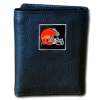 NFL Leather and Nylon Trifold Wallet - Cleveland Browns