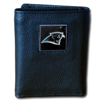 NFL Leather and Nylon Trifold Wallet - Carolina Panthers