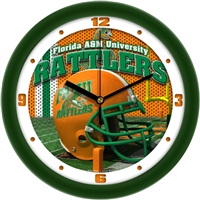"Florida A&M Rattlers 12"" Football Helmet Wall Clock"