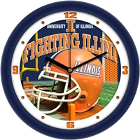 "Illinois Fighting Illini 12"" Football Helmet Wall Clock"