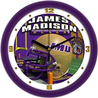 "James Madison Dukes 12"" Football Helmet Wall Clock"