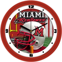 "Miami Redhawks 12"" Football Helmet Wall Clock"