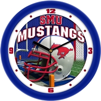 "Southern Methodist Mustangs 12"" Football Helmet Wall Clock"
