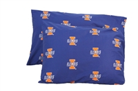 Illinois Fighting Illini Printed Pillow Case - (Set of 2) - Solid