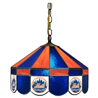 New York Mets MLB 16 Inch Billiards Stained Glass Lamp