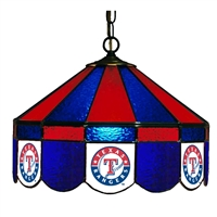 Texas Rangers MLB 16 Inch Billiards Stained Glass Lamp