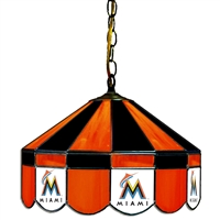 Miami Marlins MLB 16 Inch Billiards Stained Glass Lamp