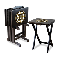 Boston Bruins NHL TV Tray Set with Rack