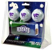 Kansas State Wildcats Slider Hat Clip 3 Ball Gift Pack
