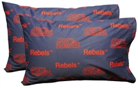Ole Miss Rebels Printed Pillow Case - (Set of 2) - Solid