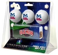 Mississippi Ole Miss Rebels Slider Hat Clip 3 Ball Gift Pack