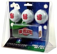 North Carolina State Wolfpack Slider Hat Clip 3 Ball Gift Pack