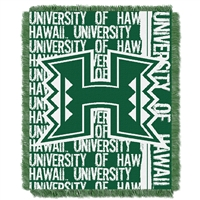 Hawaii Rainbow Warriors NCAA Triple Woven Jacquard Throw (Double Play Series) (48x60)