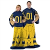 Michigan Wolverines NCAA Adult Uniform Comfy Throw Blanket w/ Sleeves
