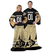 Colorado Golden Buffaloes NCAA Adult Uniform Comfy Throw Blanket w/ Sleeves