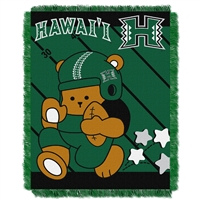Hawaii Rainbow Warriors NCAA Triple Woven Jacquard Throw (Fullback Baby Series) (36x48)