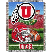 "Utah Runnin Utes NCAA Woven Tapestry Throw (Home Field Advantage) (48x60"")"""