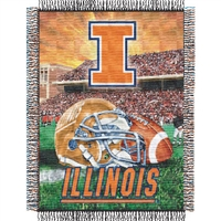 "Illinois Fighting Illini NCAA Woven Tapestry Throw (Home Field Advantage) (48x60"")"""
