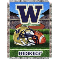 "Washington Huskies NCAA Woven Tapestry Throw (Home Field Advantage) (48x60"")"""