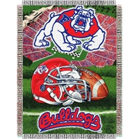 "Fresno State Bulldogs NCAA Woven Tapestry Throw (Home Field Advantage) (48x60"")"""