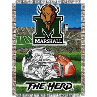 "Marshall Thundering Herd NCAA Woven Tapestry Throw (Home Field Advantage) (48x60"")"""