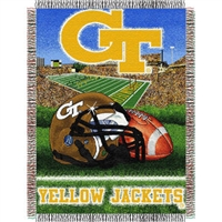 "Georgia Tech Yellow Jackets NCAA Woven Tapestry Throw (Home Field Advantage) (48x60"")"