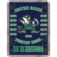 "Notre Dame Fighting Irish NCAA National Championship Commemorative Woven Tapestry Throw (48x60"")"""
