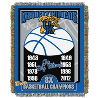 Kentucky Wildcats NCAA National Championship Commemorative Woven Tapestry Throw (48x60)