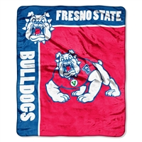 Fresno State Bulldogs NCAA Royal Plush Raschel Blanket (School Spirit Series) (50x60)