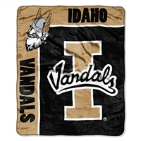 Idaho Vandals NCAA Royal Plush Raschel Blanket (School Spirit Series) (50in x 60in)