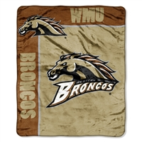 Western Michigan Broncos NCAA Royal Plush Raschel Blanket (School Spirit Series) (50in x 60in)