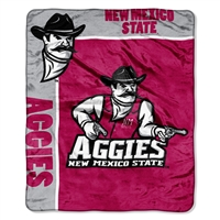 New Mexico Lobos NCAA Royal Plush Raschel Blanket (School Spirit Series) (50in x 60in)