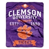 Clemson Tigers NCAA Royal Plush Raschel Blanket (Label Series) (50x60)