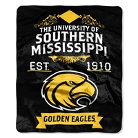 Southern Mississippi Eagles NCAA Royal Plush Raschel Blanket (Label Series) (50x60)