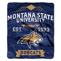 Montana State Bobcats NCAA Royal Plush Raschel Blanket (Label Series) (50x60)