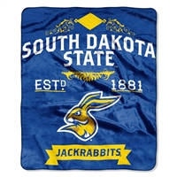 South Dakota State Jackrabbits NCAA Royal Plush Raschel Blanket (Label Series) (50x60)