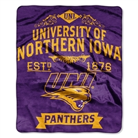Northern Iowa Panthers NCAA Royal Plush Raschel Blanket (Label Series) (50x60)