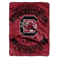 South Carolina Gamecocks NCAA Royal Plush Raschel Blanket (Rebel Series) (60x80)