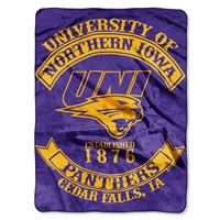 Northern Iowa Panthers NCAA Royal Plush Raschel Blanket (Rebel Series) (60x80)