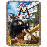 "Florida Marlins MLB Woven Tapestry Throw (Home Field Advantage) (48x60"")"""