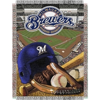 "Milwaukee Brewers MLB Woven Tapestry Throw (Home Field Advantage) (48x60"")"""