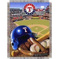 "Texas Rangers MLB Woven Tapestry Throw (Home Field Advantage) (48x60"")"""