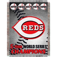 "Cincinnati Reds MLB World Series Commemorative Woven Tapestry Throw (48x60"")"""