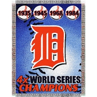 "Detroit Tigers MLB World Series Commemorative Woven Tapestry Throw (48x60"")"""