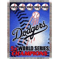 "Los Angeles Dodgers MLB World Series Commemorative Woven Tapestry Throw (48x60"")"""