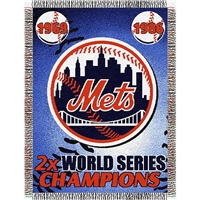 "New York Mets MLB World Series Commemorative Woven Tapestry Throw (48x60"")"""